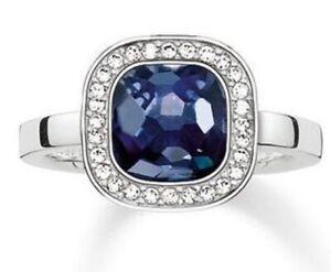 NEW Genuine Thomas Sabo 925 Silver & Blue CZ Cosmo Ring TR2029  Size 56 £149