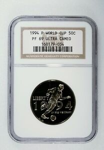 1994-P WORLD CUP PROOF COMMEMORATIVE 50C NGC PF69 ULTRA CAMEO 50c Proof Coin
