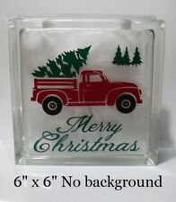 "Merry Christmas Old truck Decal Sticker for 8"" Glass Block DIY Crafts"