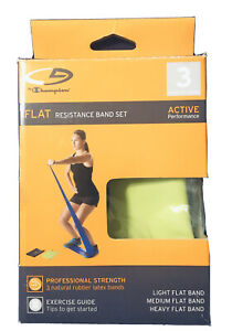 Champion Flat Resistance Band Set - Light, Medium, Heavy - Durable - New in Box