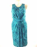 Issa London Dress Banana Republic 6 M Turquoise Green Dot Keyhole Pleat Knit LN