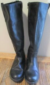 """Faded Glory Black 15"""" Tall Low Heel Boots Size 6M Ladies Excellent Condition EUC"""