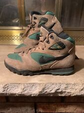 Vintage Nike ACG Brown Leather Green Hiking Boots Trail Shoes Men's Size 7 Vtg