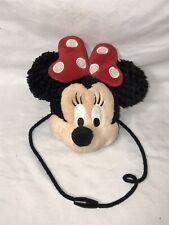 "Disney Parks Minnie Mouse Plush Face Coin Purse Pouch Wallet Disneyland 6"""