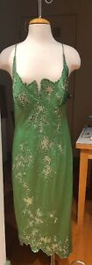 MANDALAY GREEN STRETCH SATIN SEQUIN MESH FITTED COCKTAIL MIDI DRESS SIZE 12