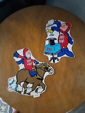 Two 1970's vintage budman Budweiser stickers magician Clydesdale cowboy