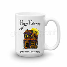 Personalised Happy Halloween Gift Haunted House Vampire Bat Large Mug Present #1