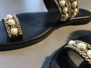 ladies leather flip flops size 36