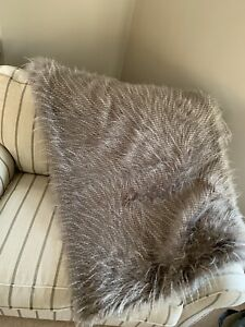 ALISON CORK💛LUXURY TIPPED FAUX FUR THROW 150x200cms GREY NEW KING SIZE