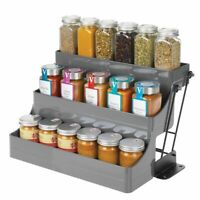 mDesign 3 Tier Pull Down Spice Rack, Storage Shelf Organizer - Gray/Black