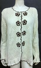 Storybook Knits HSN Cream and Brown Crochet Cotton Cardigan Size L