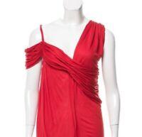 Lanvin Paris Sz Medium Draped Red Off Shoulder Blouse