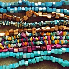 MIXED LOT MOTHER OF PEARL BEADS NATURAL DYED 8 STRANDS VARIED SIZE/COLOR