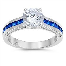 Sterling Silver 925 PRETTY ROUND CLEAR CZ BLUE SAPPHIRE ENGAGEMENT RING SIZE5-10