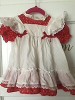 New York Kids 18m Dress Pinafore Apron Prairie Red Floral Ribbon Lace Circle