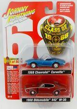 2018 Johnny Lightning *CLASS OF 1968* Blue Corvette & Red Oldsmobile 442 2 PACK