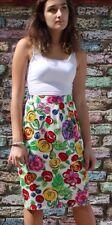 Gianni Versace 90's Versus Floral Print Knee Pencil Skirt Size Uk 10/12 Vintage