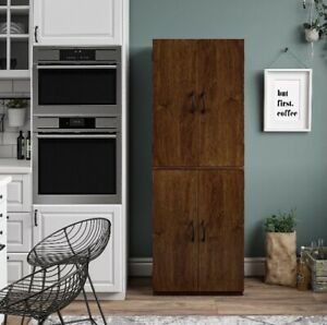 Tall 4 Door Storage Cabinet Kitchen Dining, Large Pantry Space Espresso Brown