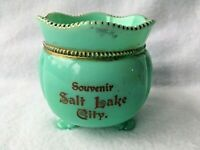 Tarentum Georgia Gem Footed Sugar Bowl Green Custard Souvenir Salt Lake City