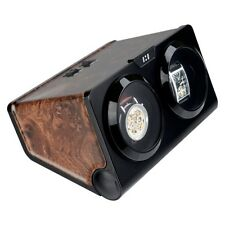 BURL and Black Dual Twin Double Watch Winder For Winding 2 Automatic Watches UK