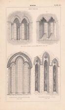 C1840 victorian architectural imprimer fenêtre ~ early english shipton olliffe