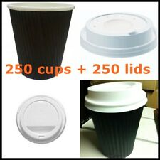 500 Pieces - 250 Black Ripple wall paper coffee cups + 250 lids,  8OZ /250ml