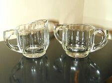Vintage Depression Glass Sugar Bowl & Creamer