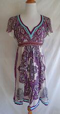 Nicole by Nicole Miller Size 4 100% Silk Purple Blue Paisley Ikat Beaded Dress