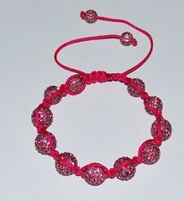 Swarovski Crystal Pink 12mm Pave Ball Beads Macrame Shamballa Bracelet  SH100
