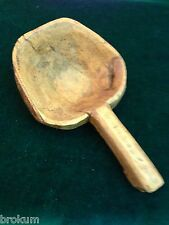 Early Primitive Small Wood Oblong Bowl Scoop with Handle ~ One Piece Handcarved