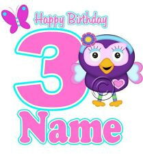 IRON ON TRANSFER PERSONALISED birthday ANY NAME/NUMBER OWL HOOT hootabelle