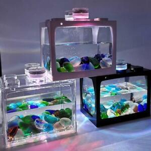 Mini Fish Tank Small Aquarium LED Betta Aquarium Office Desktop Decor x 1SET