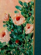 Pink Roses & Leaves Bouquet Light, Original Mina Burchard TX Artist Oil Painting