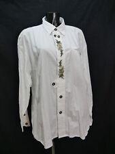 Gr.XL Trachtenhemd Grubig Baumwolle weiß Edelweiß Stickerei Trachten Hemd TH1684