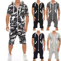 Mens Summer Hoodie Jumpsuit Zip Up Short Sleeve Sweatshirt Hooded Tops Tracksuit