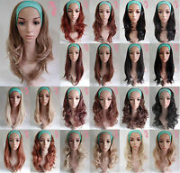 Ladies Brown Blonde Straight Curly Wavy 3/4 Wig Half Wig Clip In Hair Fall Piece