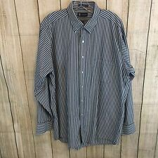 Chaps Men's Button Down Shirt Large 16-16 1/2 34/35 Striped of Gray Shades