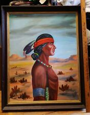 Oil Painting Framed Portrait of American Hopi Tribal Warrior Man Vintage Signed