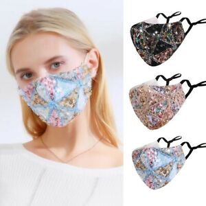 Sequin Glitter Face Mask Fashion Bling Sparkly Washable Face Cover Reusable @