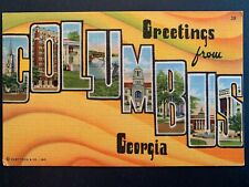 Linen Postcard - Greetings from COLUMBUS Georgia GA Large Letter