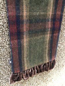 Women's Tartan  Scarf 60% Wool Brown Green Lightweight