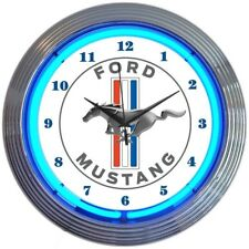 """Ford Mustang Blue Neon Clock 15""""x15"""""""
