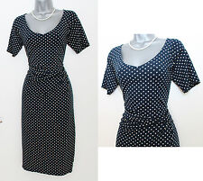 MONSOON Navy Ivory Spotted Print Stretch Short Sleeve Pencil Dress UK 10 EU 38