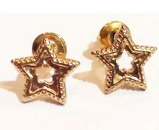 Gold Novelty Star Textured Earrings Costume Jewellery Stud
