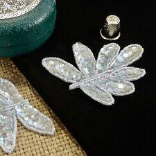 Mint Leaf Sequin Beaded Applique Patch Decoration Trim MA713