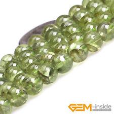Natural Green Peridot Quartz Gemstone Semi Precious Round Loose Spacer Beads 15