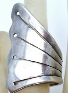 Wide 950 Silver Bypass Knuckle Ring Size 6.5 Fan Style Sterling Jewelry Vintage