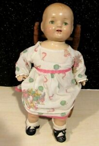 """ANTIQUE Composition doll w/Cloth Body unmarked 1930s, Sleep eyes 16"""" DRESSED"""