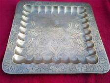 Vintage old brass square shaped tray with ornate floral design etched / engraved
