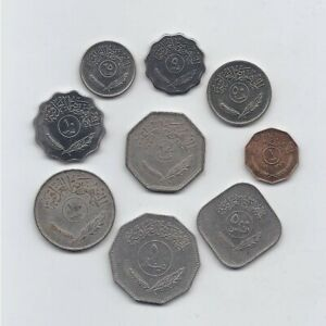 IRAQ 1959 - 1990 NINE DIFFERENT COINS SET: 1 FILS TO 1 DINAR SOME UNCIRCULATED